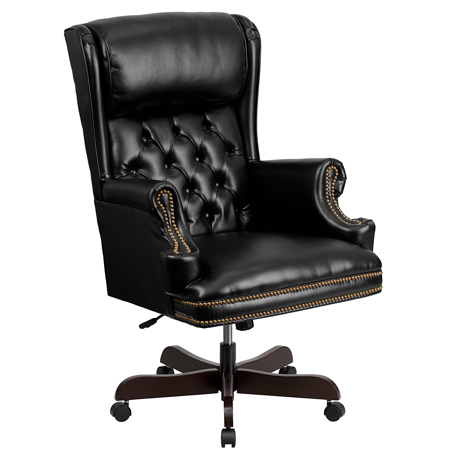Flash Furniture High Back Traditional Tufted Black Leather Executive Ergonomic Office Chair with Oversized Headrest & Nail Trim Arms