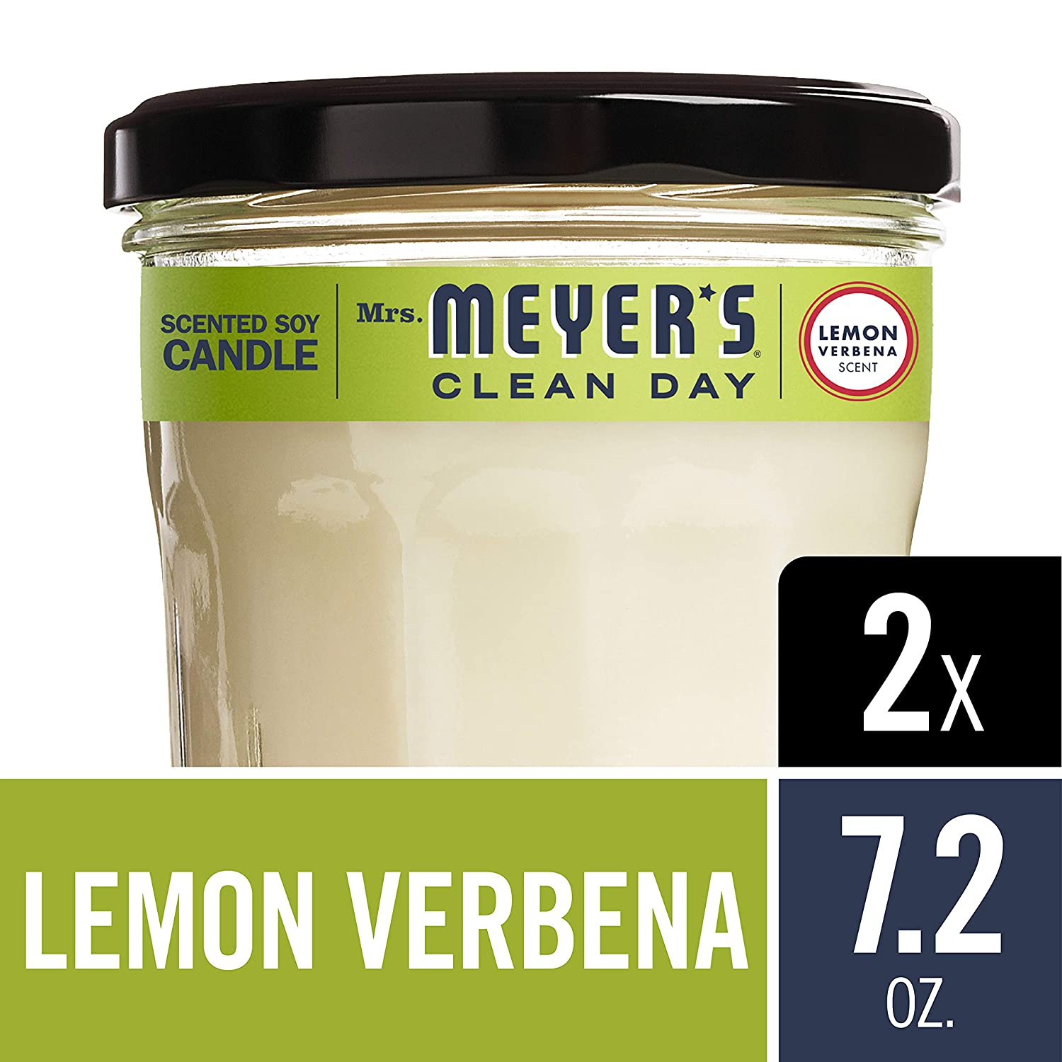 MRS MEYERS Soy Candle Large, Lemon Verbena, 7.2 Ounce (Pack of 2) Mrs. Meyer's Merged H&PC-71532