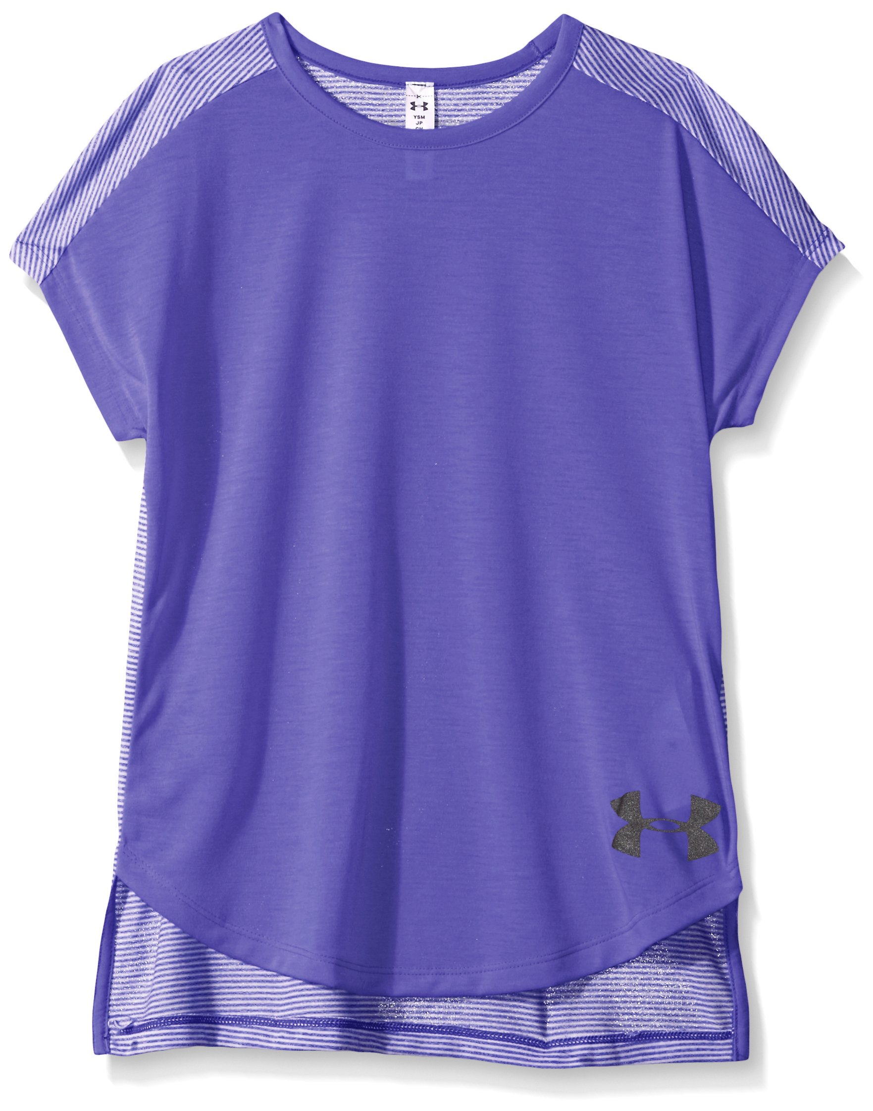 Under Armour Girls' Threadborne Play Up T-Shirt,Constellation Purple /Black, Youth X-Small