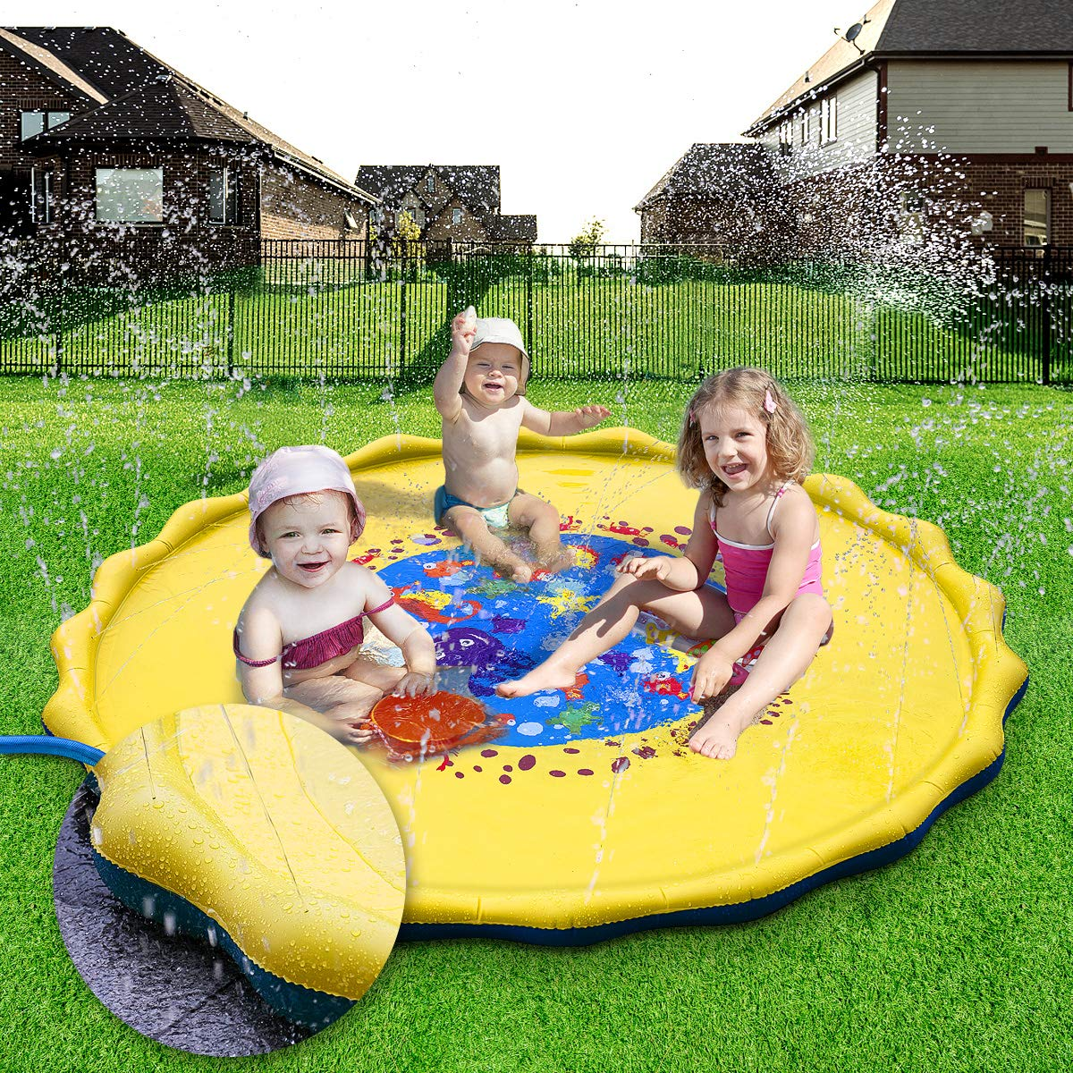 Splash Play Mat, 68in-Diameter Perfect Inflatable Outdoor Sprinkler Pad Summer Fun Backyard Play for Infants Toddlers and Kids by DAPRIL (Image #7)