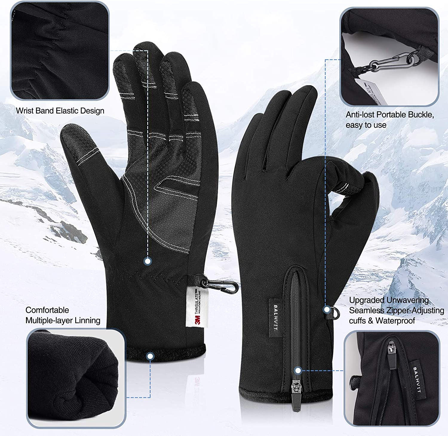 30℉ Waterproof Winter Gloves 3M Thinsulate Breathable Touch Screen Men Women