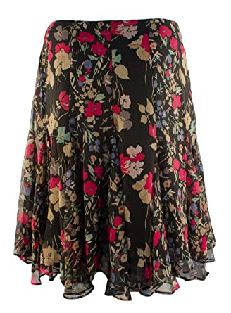 699c8b831b4 LAUREN RALPH LAUREN Women s Plus Size Multi Floral Georgette Skirt-BM-18W  at Amazon Women s Clothing store