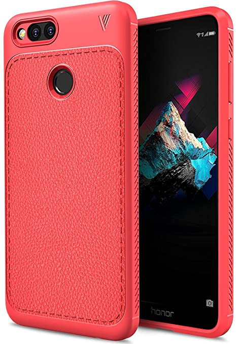 sports shoes fd6ef 5c60f Bounceback ® (V Series) Huawei Honor 7X Back Case Shock Proof Anti Slip  Leather Pattern Armor Soft TPU Back Cover for Huawei Honor 7X (Matte Red)