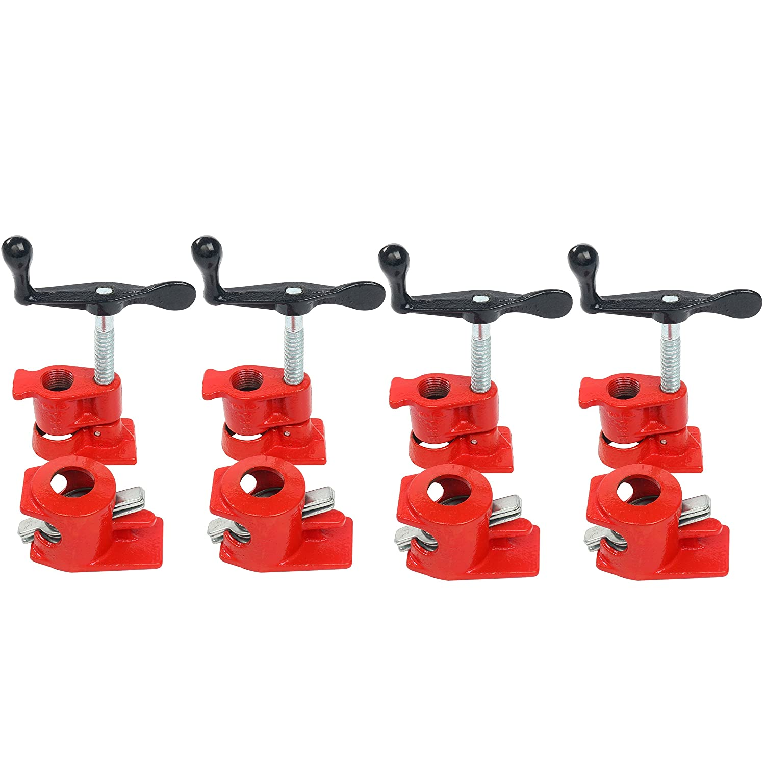 1//2 Wood Gluing Pipe Clamp Set Heavy Duty PRO Woodworking Cast Iron 4 Pack 1//2, 4 Packs
