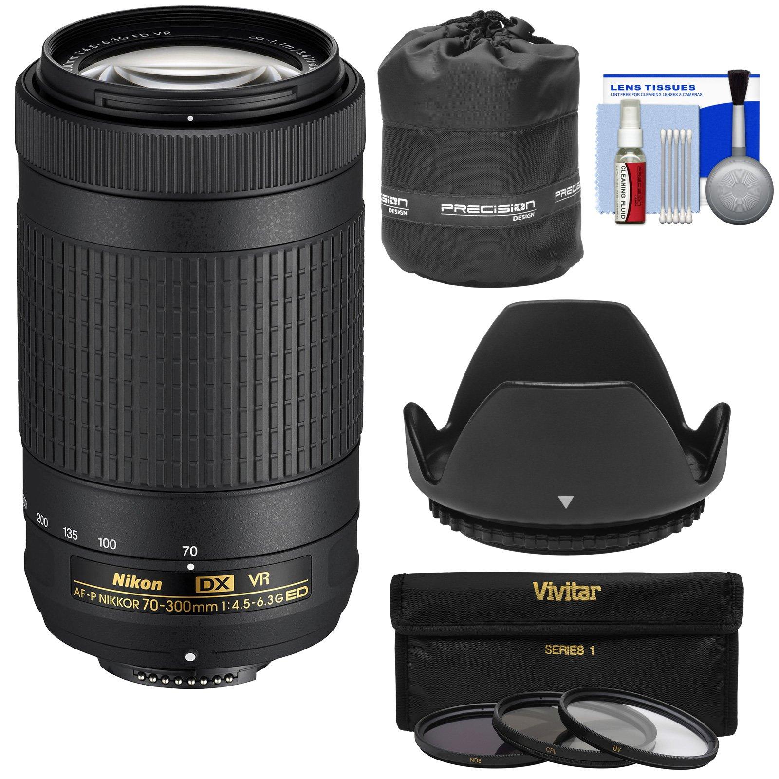 Nikon 70-300mm f/4.5-6.3G VR DX AF-P ED Zoom-Nikkor Lens with 3 UV/CPL/ND8 Filters + Hood + Pouch + Kit (Renewed)