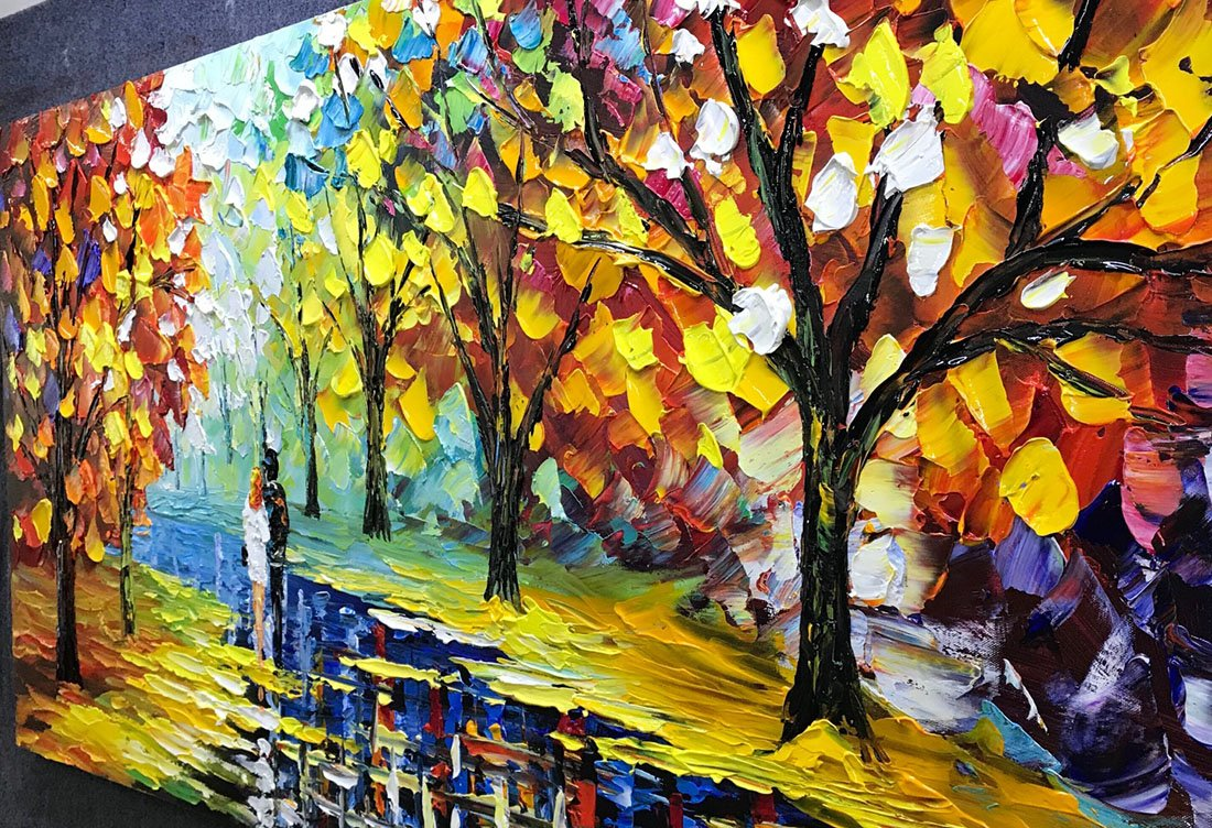 Fasdi-ART Paintings, 24x48 Inch Paintings, Love in the Forest Oil Hand Painting Painting 3D Hand-Painted On Canvas Abstract Artwork Art Wood Inside Framed Hanging Wall Decoration Abstract Painting by Fasdi-ART (Image #4)