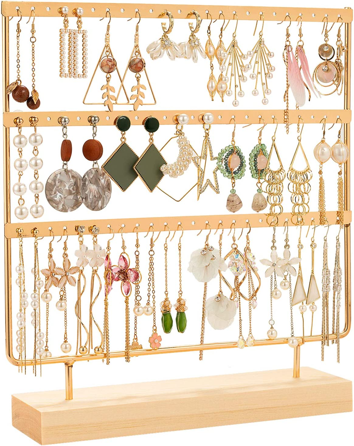 Amazon Com Dhmk Earring Stand Organizer Jewelry Display Rack 3 Tier Ear Stud Holder Jewelry 69 Holes With Wood Base Stand Display Rack For Women Girls Earring Holders Gold Home Kitchen