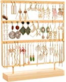 DHMK Earring Stand Organizer Jewelry Display Rack 3-Tier Ear Stud Holder Jewelry 69 Holes with Wood Base Stand Display…