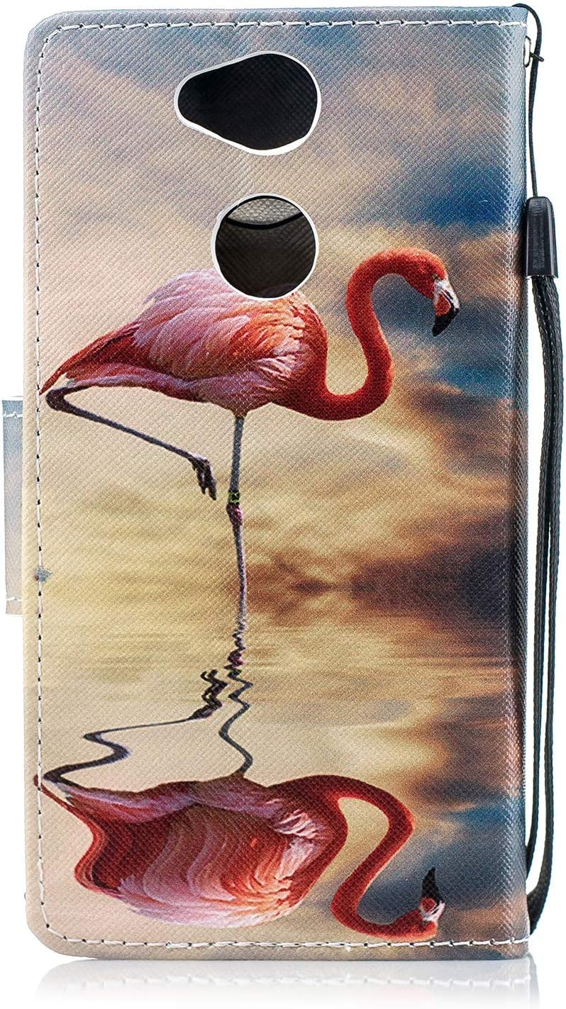 Tifightgo Xperia XA2 Case White,Flip Cat Butterfly Painted PU Leather Cover Inner Card Slot//Stand//Wallet//Silicone Protective Case for Xperia XA2