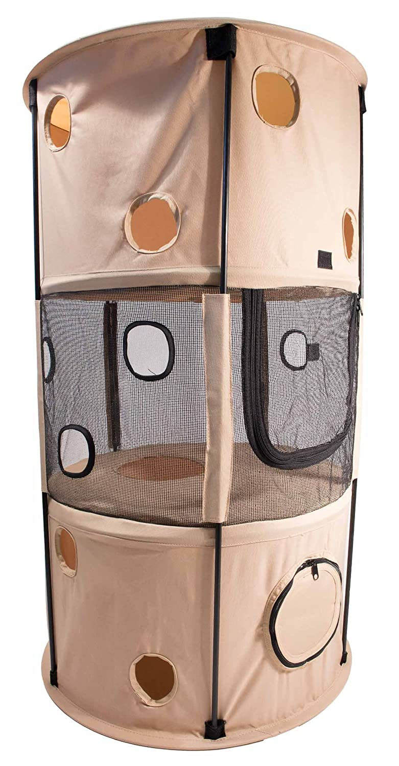 PET LIFE 'Climber-Tree' Play-Active Travel Collapsible Lightweight Kitty Cat Tree House Lounger, One Size, Khaki