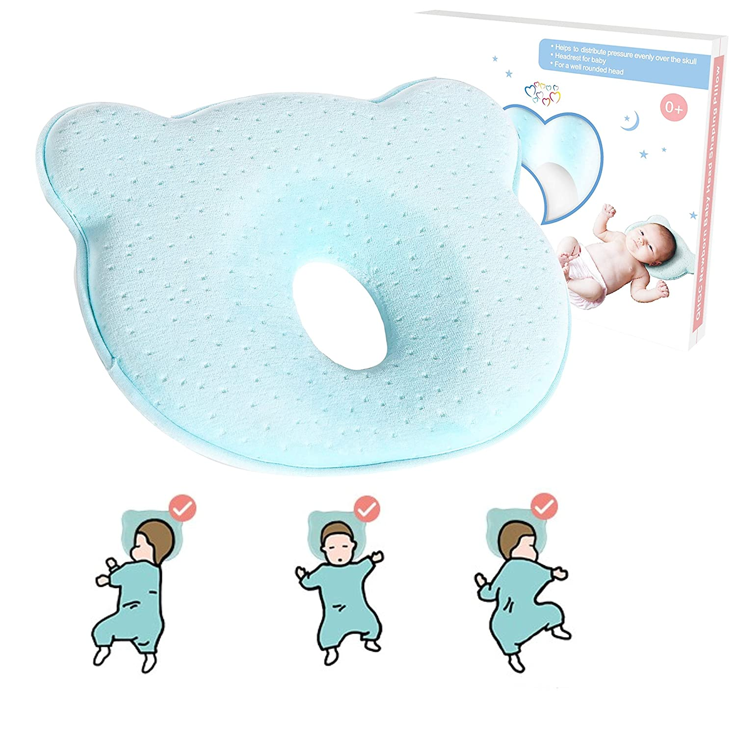 Baby Pillow Pillow Light Pink Head Syndrome Prevention by Funky Planet Breathable Memory Foam Pillow Head Shaping Pillow for Newborn