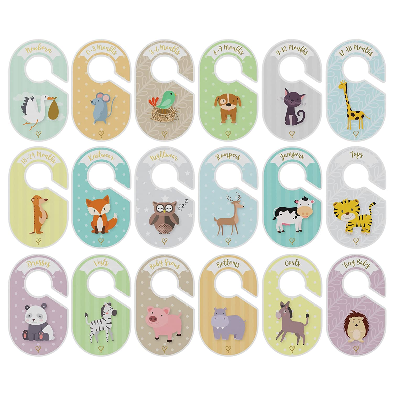 Bebé separadores – 18 – Percha Armario organizadores – Organizar ropa por la ropa Tipo O edad – perfecto Bebé Ducha Set de regalo – Unisex ...
