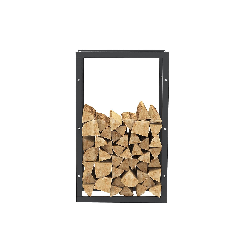 Panier /à bois Porte b/ûches chemin/ée 60 x 100 x 25 cm 38000 /Étag/ère de chemin/ée exclusive en m/étal noir mat