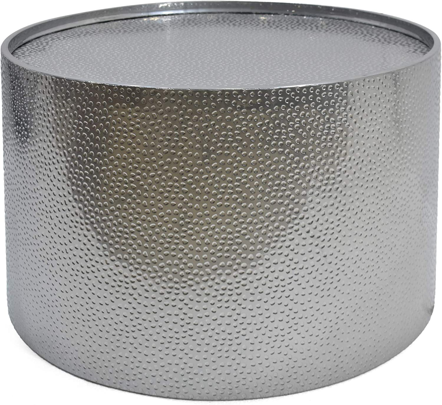 """Christopher Knight Home Rache Modern Round Coffee Table with Hammered Iron, Silver, 26. 00"""" L x 26. 00"""" W x 17. 00"""" H: Kitchen & Dining"""