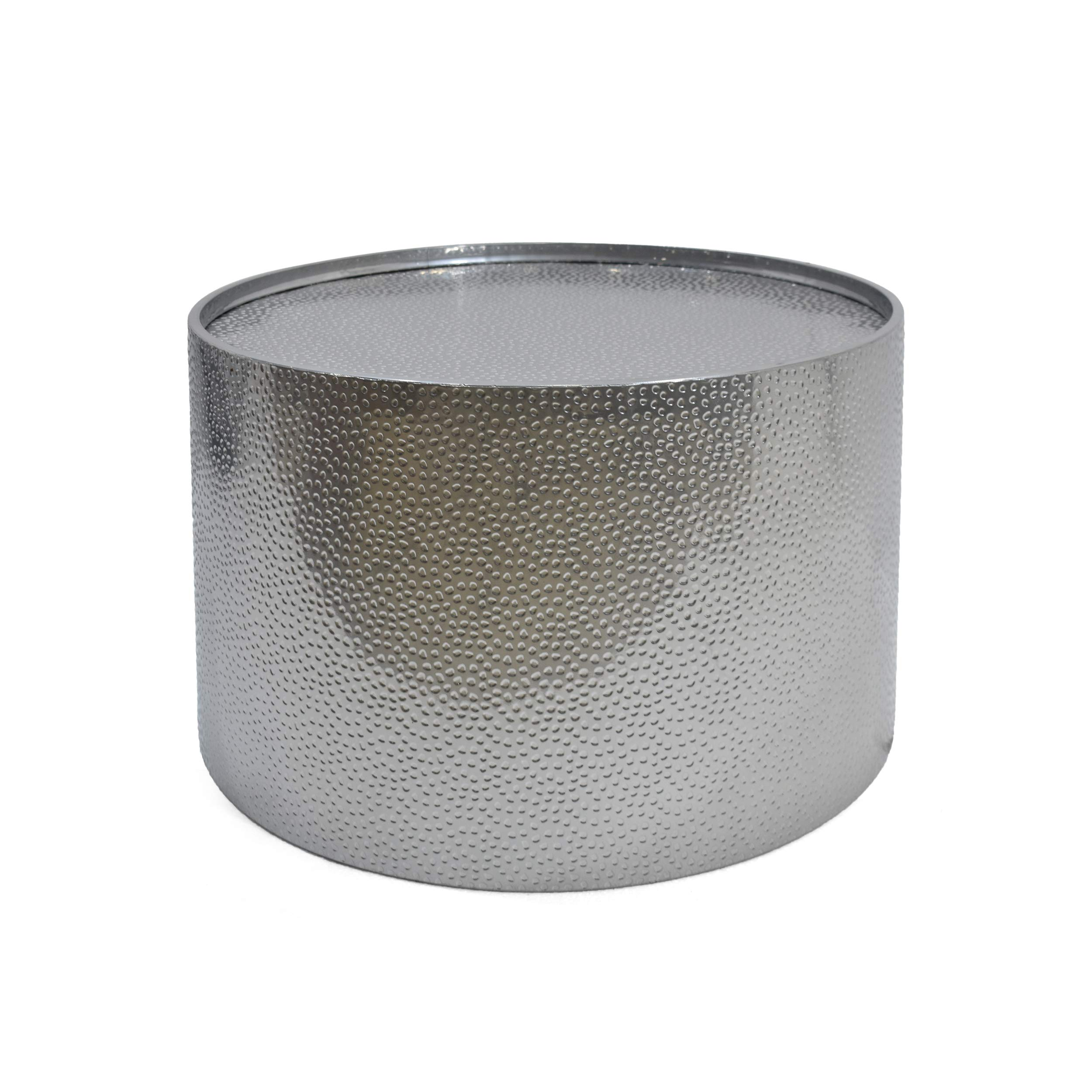 Christopher Knight Home Rache Modern Round Coffee Table with Hammered Iron, Silver, 26. 00'' L x 26. 00'' W x 17. 00'' H by Christopher Knight Home
