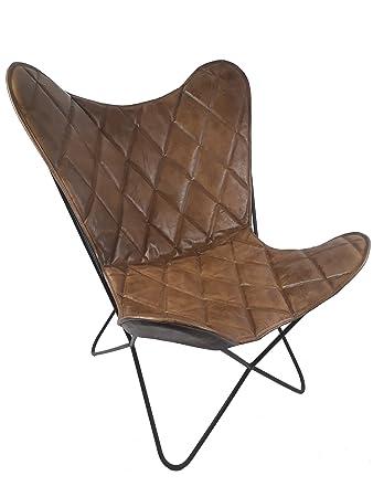 Vintage Sessel Butterfly Argyle Loungesessel Leder Raute Amazonde