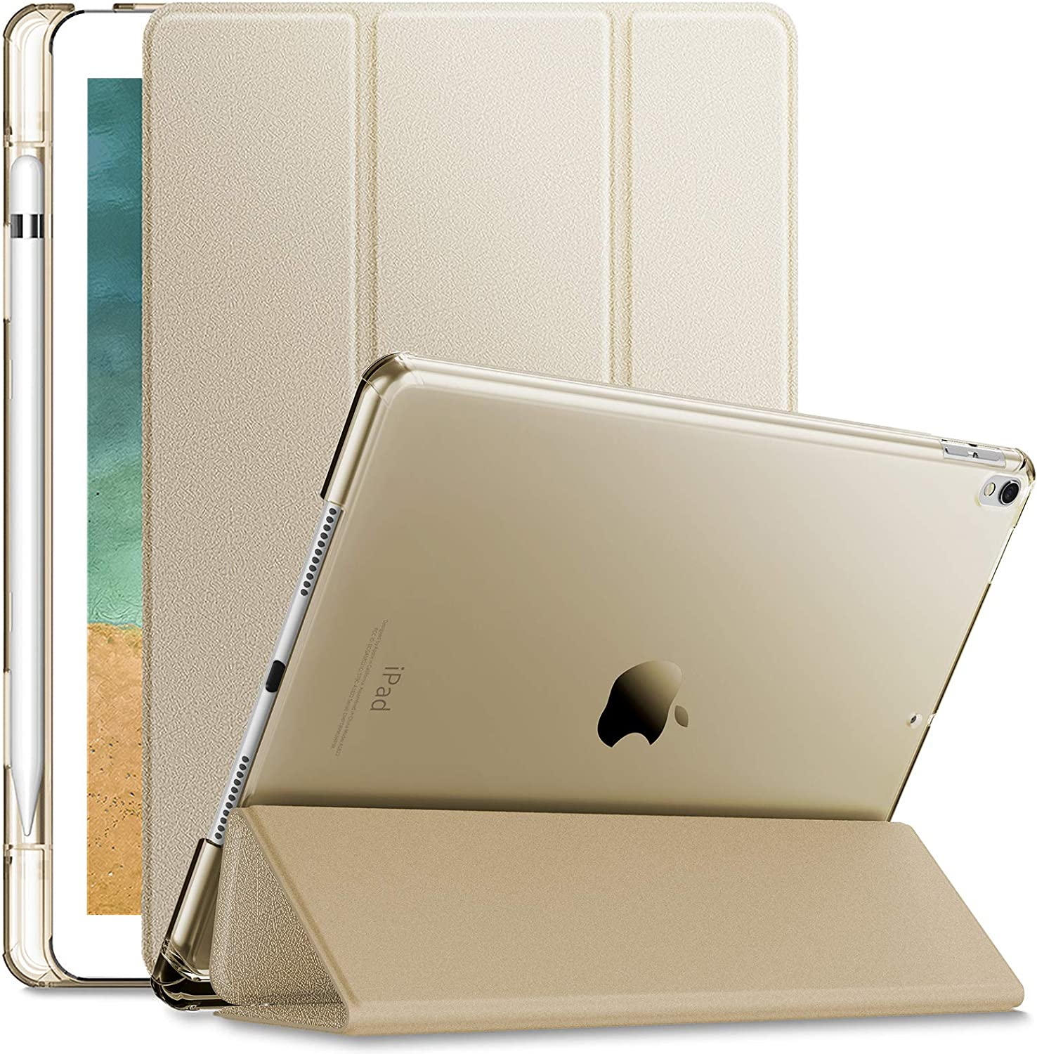 INFILAND Compatible with iPad Air 3rd Generation 2019 Case with Translucent Frosted Back Pencil Holder Fit iPad Air 3 Gen 2019 iPad Pro 10.5 2017, Gold