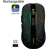 Rechargeable Wireless Mouse with 6 Keys,cyclic Illuminating Powered by Li-Polymer Battery,Optical Sensor,Nano USB Receiver,3-Stage DPI speeds for PC,Laptop,Tablet, MacBook etc(Firework Light)