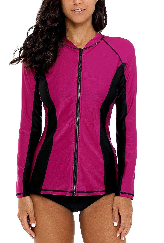 Fuchsia Black Anwell Womens Rash Guard Shirt Long Raglan Sleeve Zip Front Swim Shirt