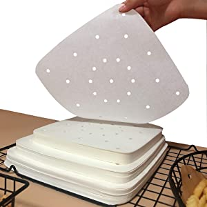 Square Air Fryer Parchment Paper Liners 200Pcs Perforated Parchment Filter Paper Accessories Unbleached for Air Fryer, Steaming Basket,Bamboo Steamer,No Burn, Easy Cleanup (White, 7.5 Inch)