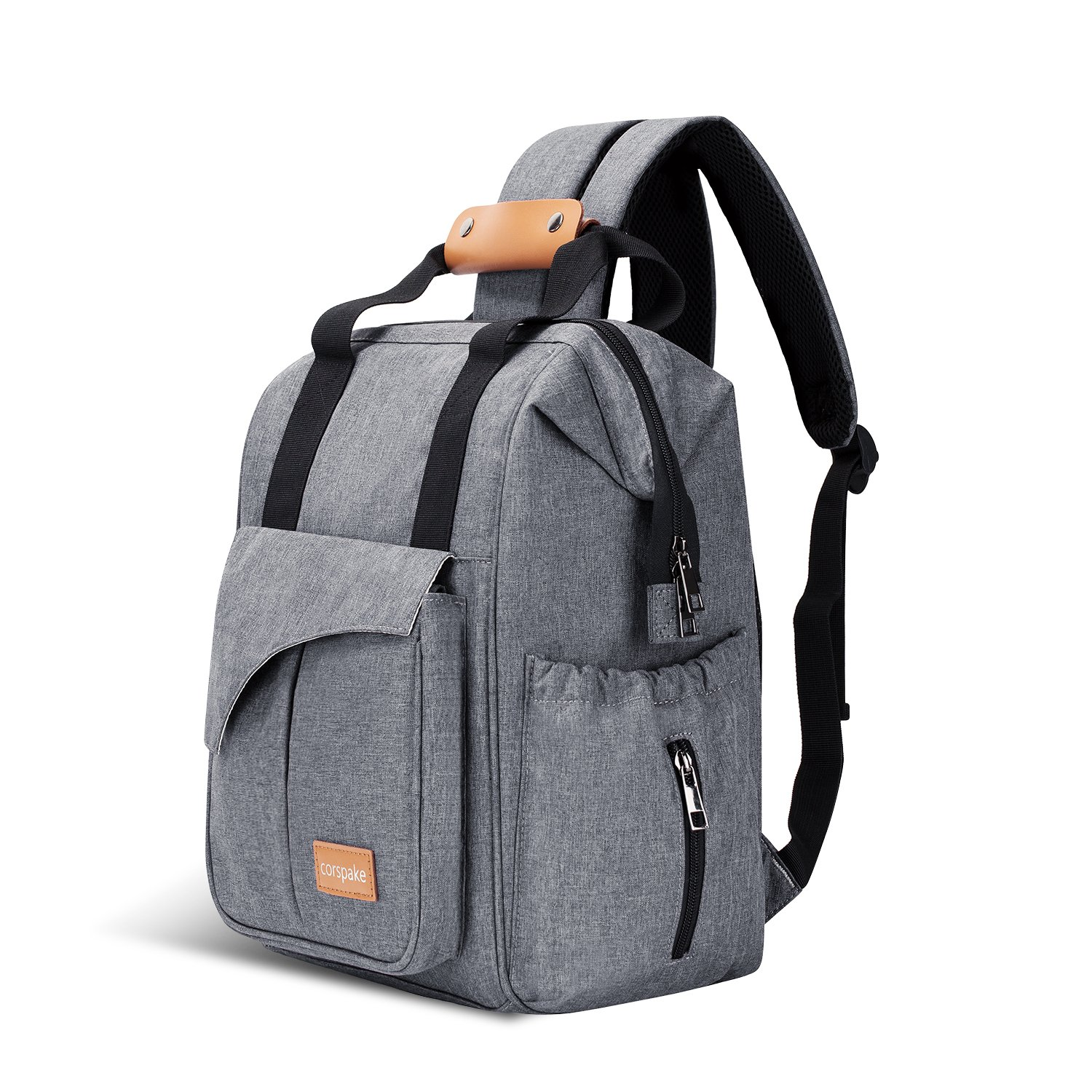 Grey Diaper Bag Backpack,Corspake Nappy Changing Backpack Mummy Bag with Insulated Pockets,Multi-Function Waterproof Baby Changing Bag Handbag with Stroller Hooks,Durable and Stylish