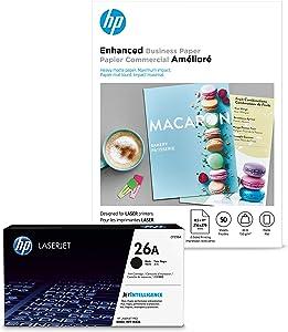 HP 26A Black Toner + HP Brochure Paper, Matte, Laser, 8.5x11, 50 sheets
