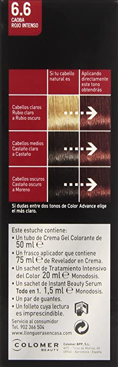 Llongueras Color Advance 6.6 Caoba Rojo Intenso - 220 gr ...