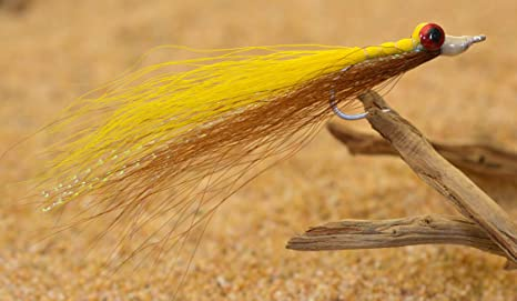 6 flies Fly Fishing Flies Clouser Minnow Yellow /& Brown Trout, Bass, Redfish