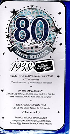 Blue Male 80th Birthday Card