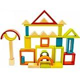 Rainbow Blocks - iPlay, iLearn Rainbow Stacker Natural Wood, Educational Toy, Wooden Art Craft Stacking Cubes Blocks 32 PCS