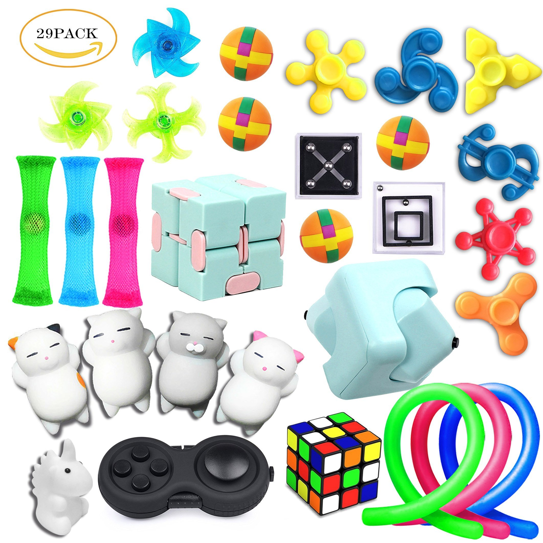 29 Pack Sensory Toys Set, Relieves Stress and Anxiety Fidget Toy for Children Adults, Special Toys Assortment for Birthday Party Favors, Classroom Rewards Prizes, Carnival, Piñata Goodie Bag Fillers