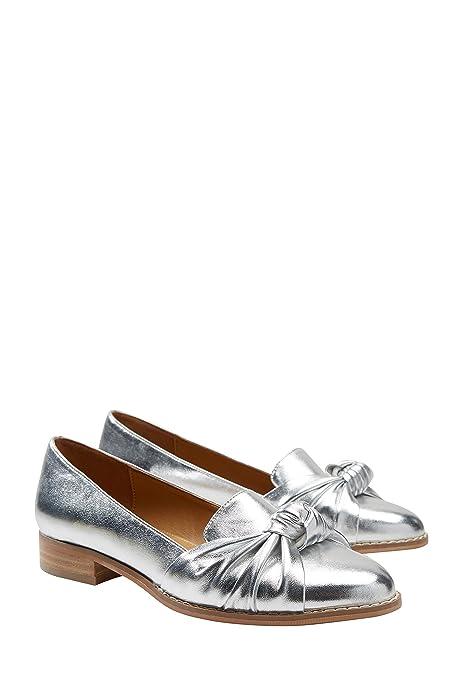 next Mujer Zapatos Zapatillas Sin Cierre Metalizados Adorno De Lazo Nudo Frontal: Amazon.es: Zapatos y complementos