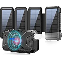 Solar Charger 26800mAh Wireless Power Bank, 4 Portable Qi Solar Panel Fast Charger Outdoor External Battery with 4…