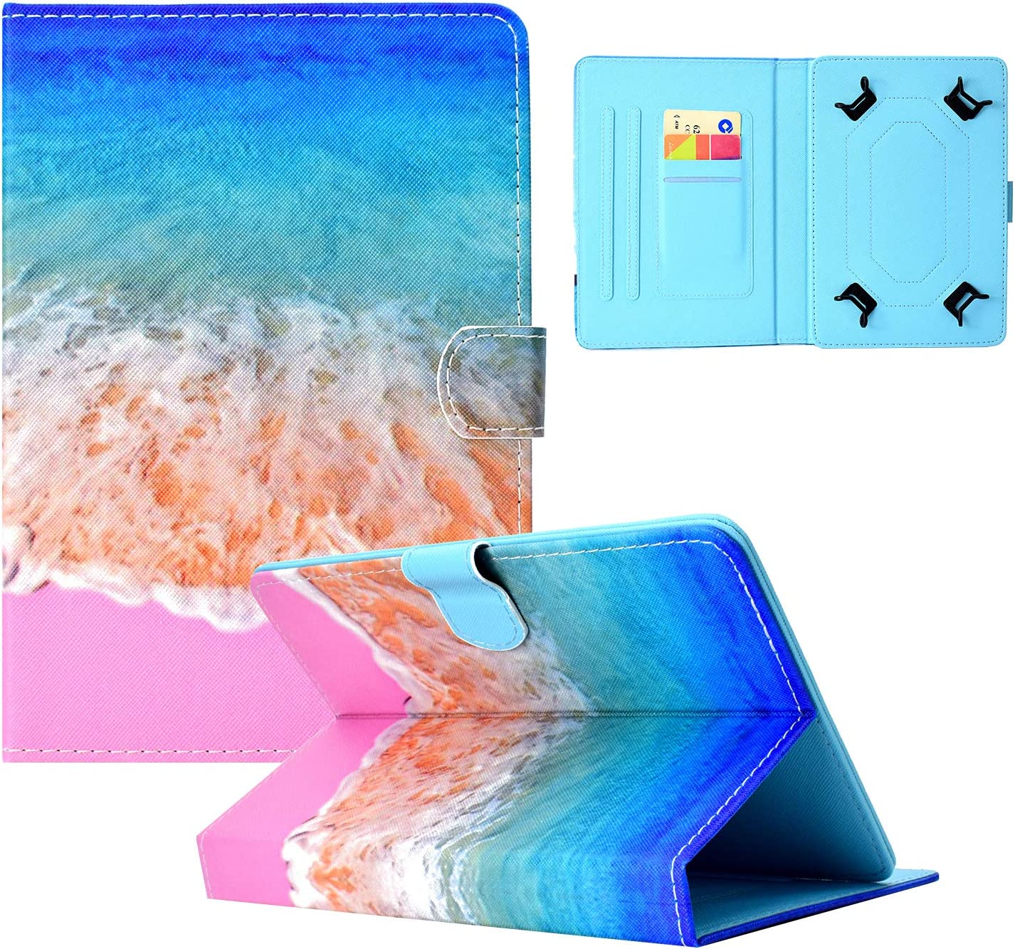 Dteck Universal Case for 7.9-8.5 Inch Tablet, Synthetic Leather Wallet Slim Stand Folio Cover for iPad Mini/Galaxy Tab/Lenovo/Dragon Touch/Walmart Onn/LG 7.9 8 8.1 8.3 8.4 Inch Tablet, Seabeach