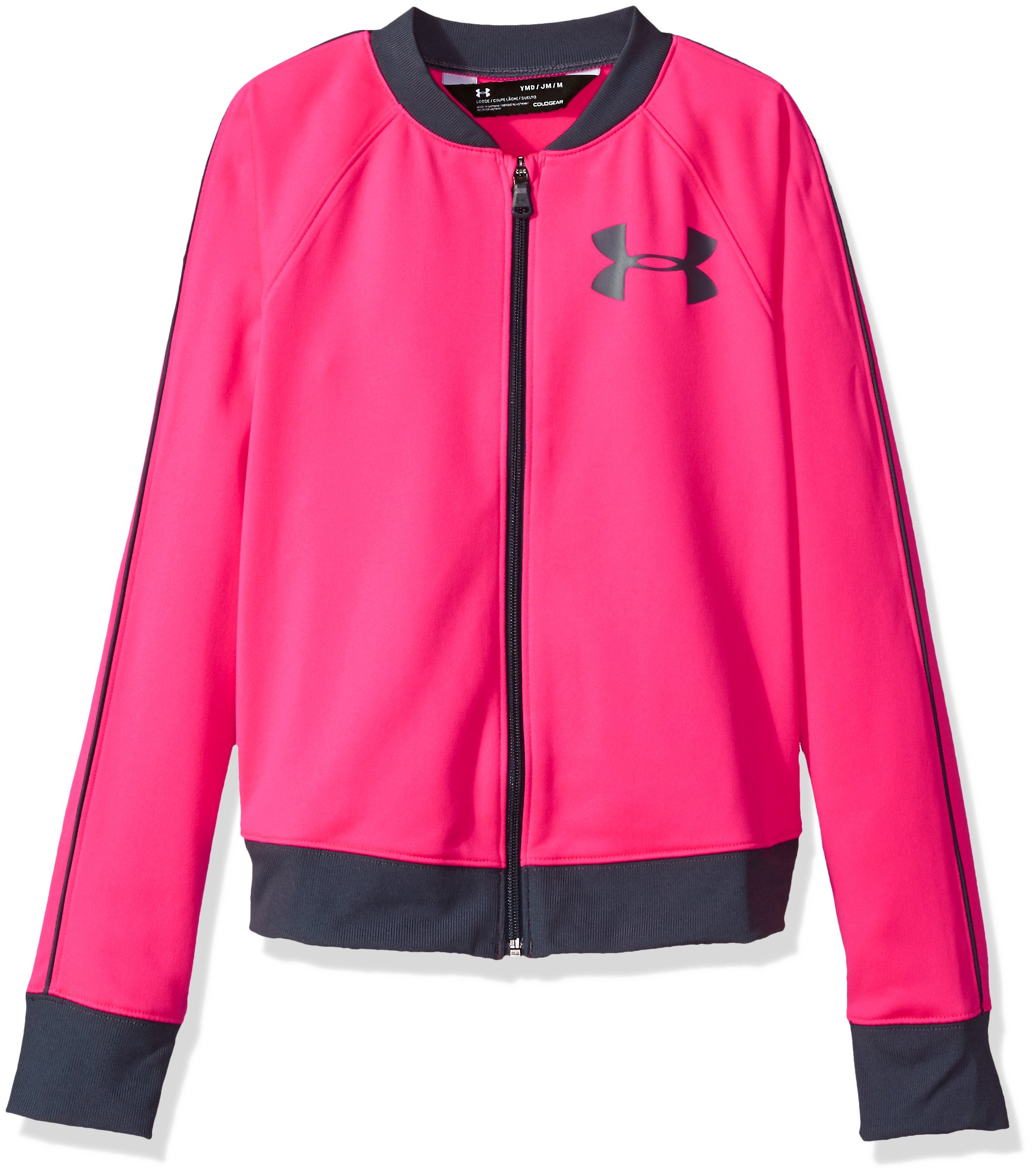 Under Armour Girls' Track Jacket,Penta Pink (975)/Apollo Gray, Youth X-Large by Under Armour