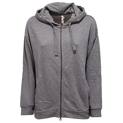 SUN 68 1413K Felpa Oversize Donna garzato Grey Cotton Sweatshirt Woman [L]: Ropa y accesorios