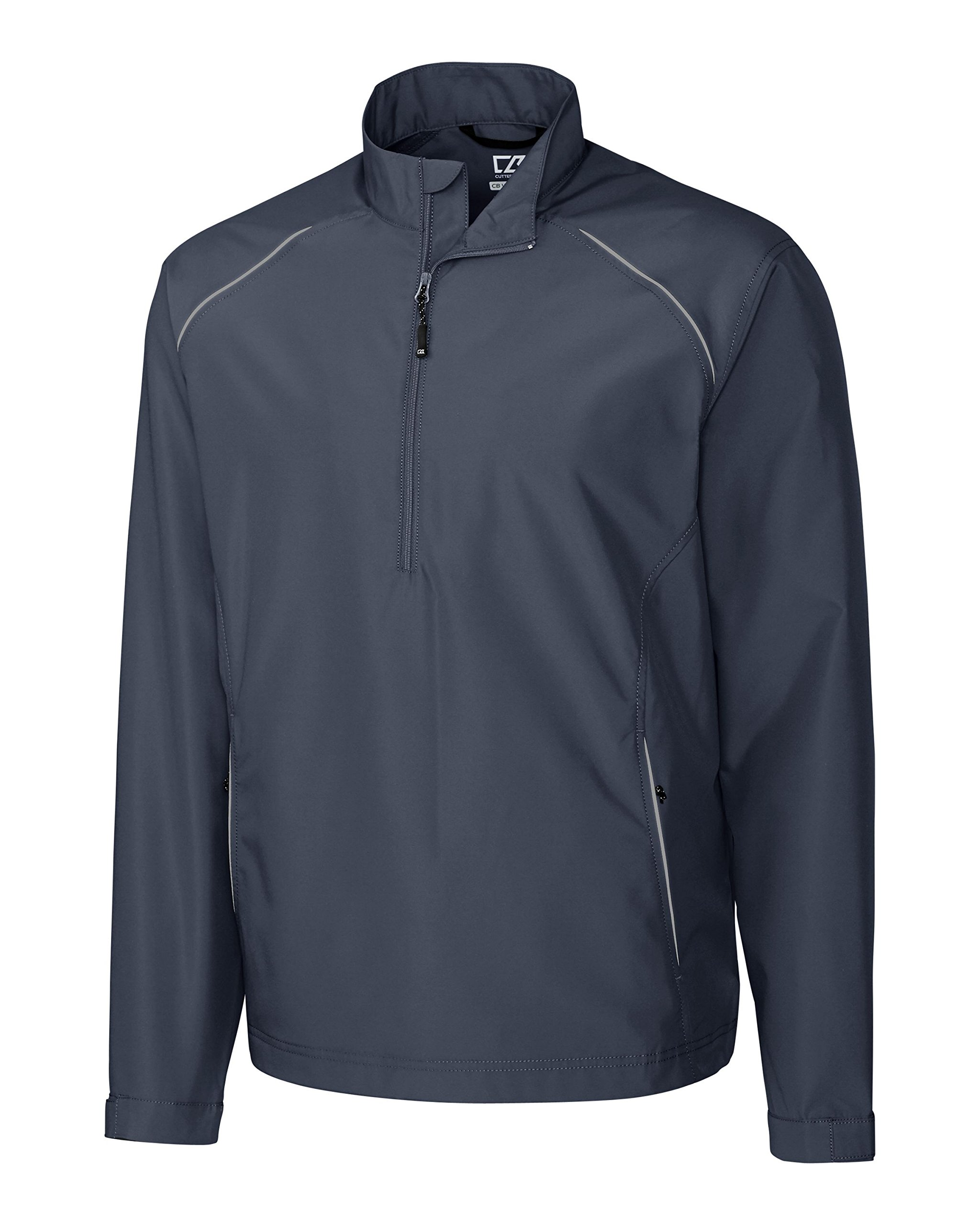 Cutter & Buck BCO00922 Mens Cb Weathertec Beacon Half Zip Jacket, Onyx-4XT