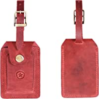 Leather Luggage Bag Tags | Privacy Flap Travel ID Case | Suitcase Name Tags by Aaron Leather Goods (Red)
