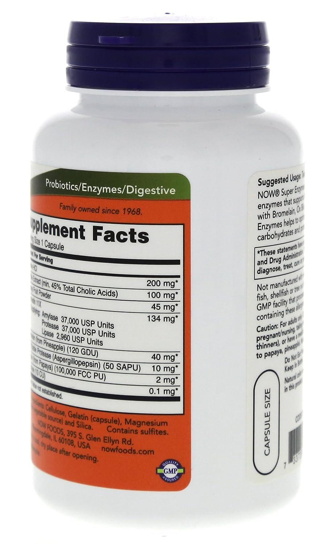 NOW Foods Super Enzymes -- 90 Capsules: Amazon.es: Salud y ...
