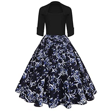 Print High Vintage Dress Women New 2018 Spring Rockabilly Patchwork Swing Dresses,Black Blue,