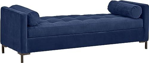 Amazon Brand Rivet Uptown Mid-Century Velvet Tufted Customizable Daybed Sofa, 78 W, Navy Black