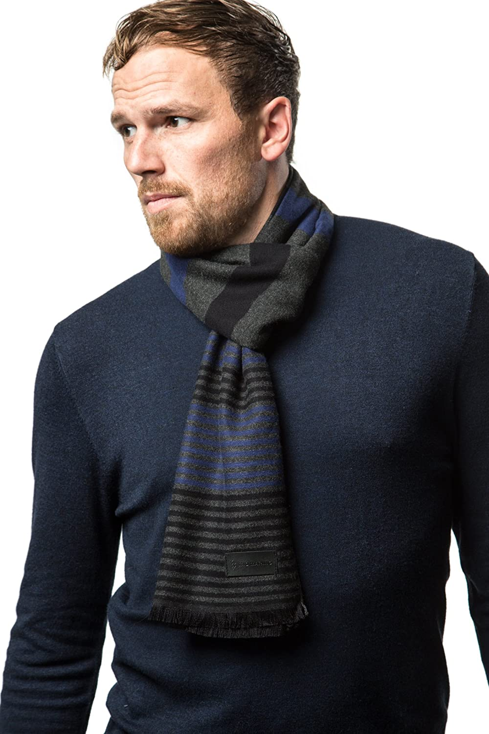 Marino's Winter Cashmere Feel Men Scarf,100% Cotton Fashion Scarves, In Elegant Gift Box MS039-07-BGD