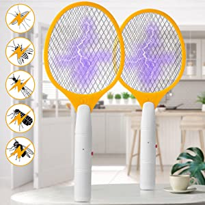 Allinall Bug Zapper,Mosquito Zapper Indoor Outdoor Electric Fly Swatters Battery Powered Mosquito Killer Bug Zapper Racket Handheld Insect Fly Trap for Home Bedroom Kitchen Backyard(2 Pack,Black)