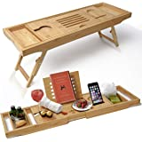 ELITE CREATIONS Bathtub Caddy & Laptop Bed Desk ? 2 In 1 Innovative Design Transforms Our 100% Extra Large Bamboo Bathtub Tray To Bed Tray (10 wide) ? For The Ultimate Pampering Experience