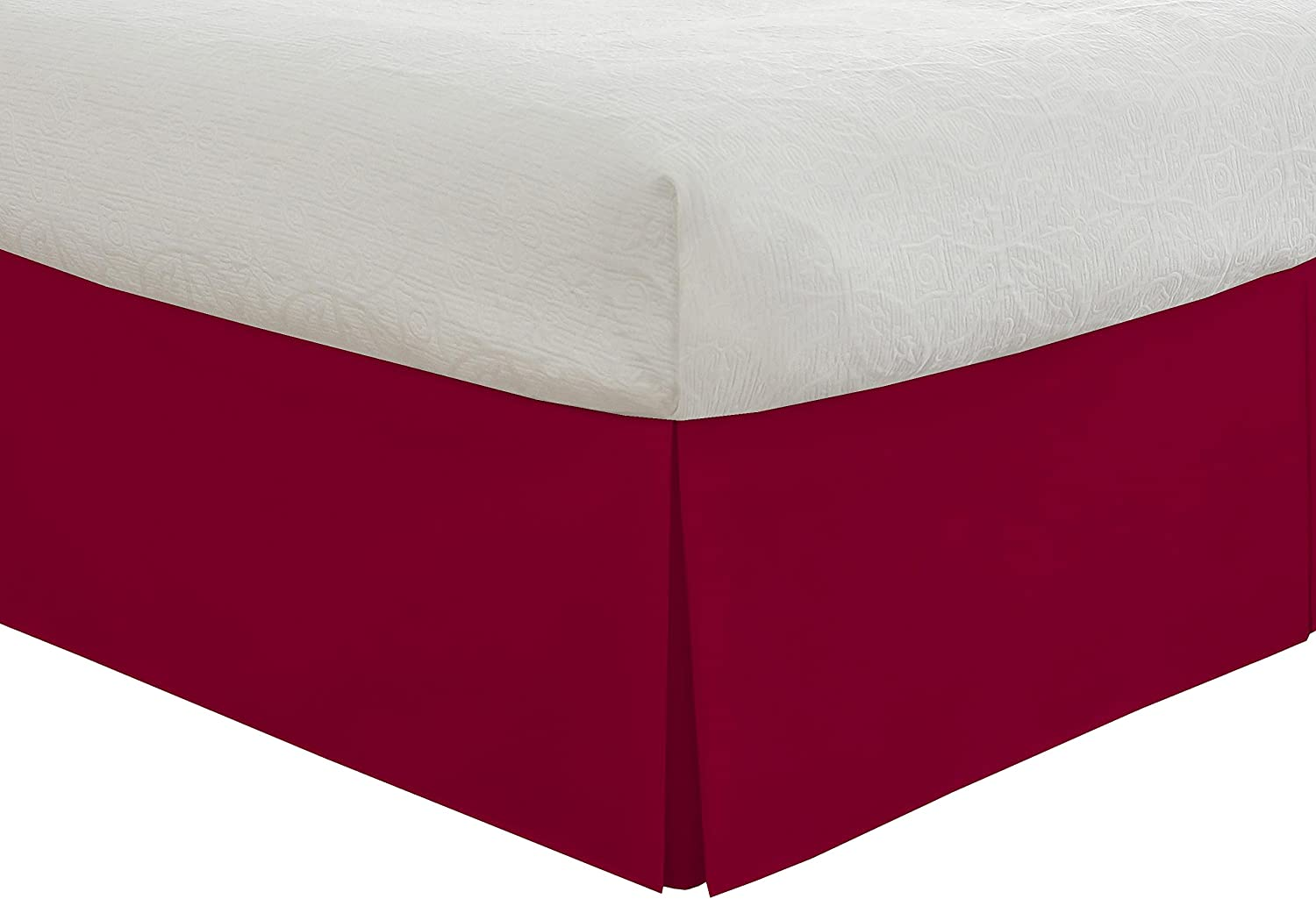 """Lux Hotel Bedding Tailored Bed Skirt, Classic 14"""" Drop Length, Pleated Styling, Full, Red"""