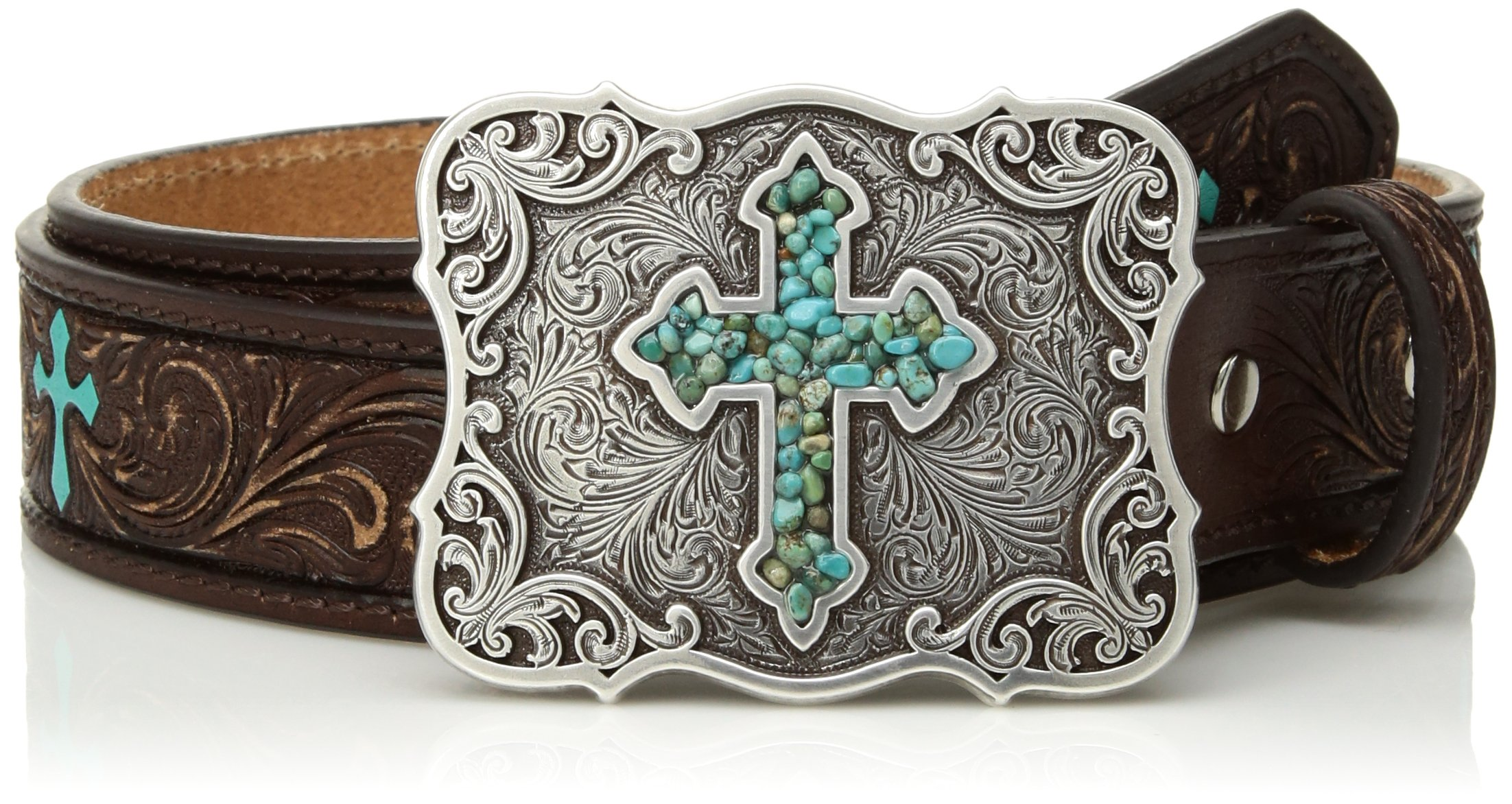 Nocona Girl's Embossed Painted Crosses Belt, Brown, 28