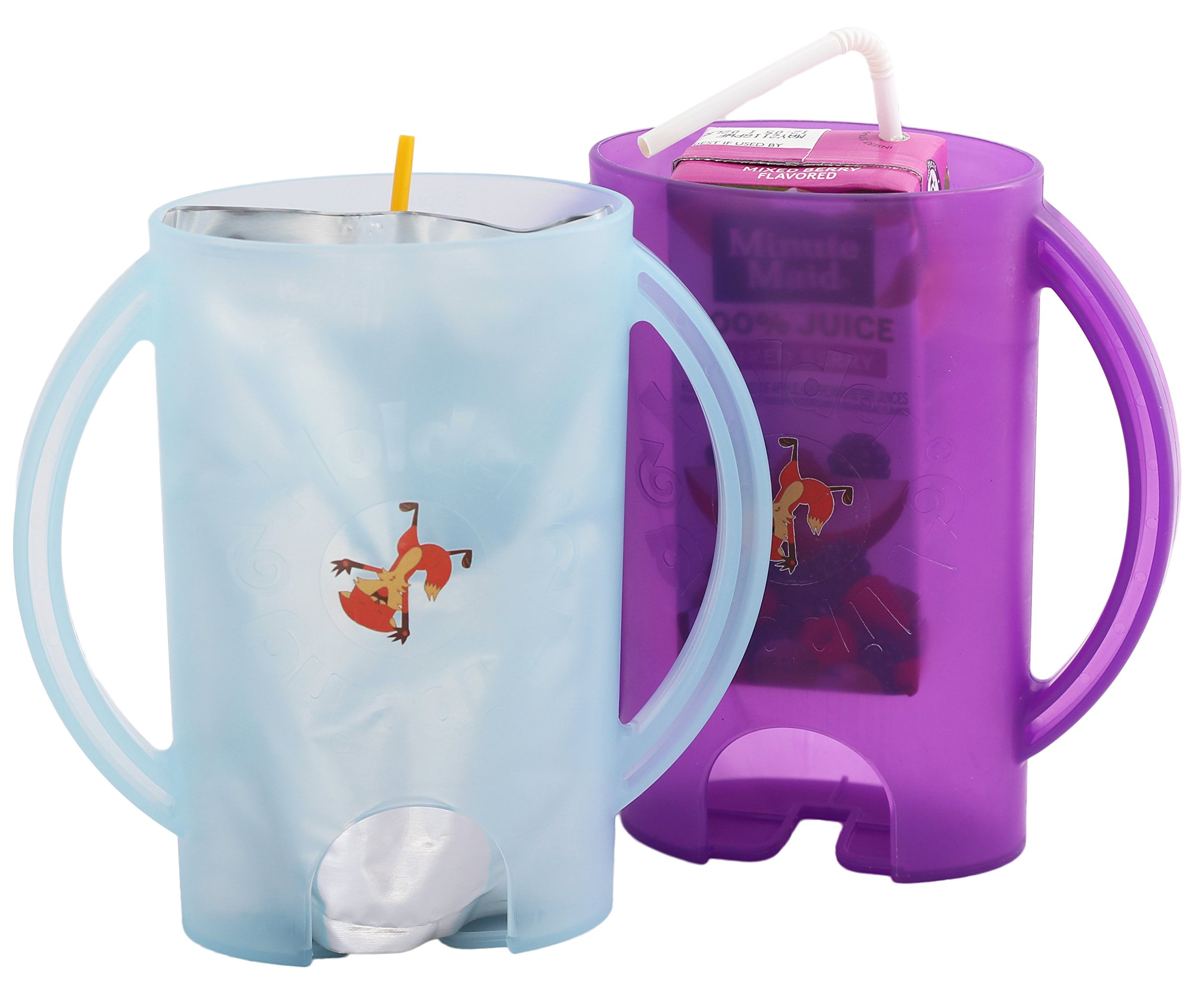 Flipping Holder, multipurpose squeeze-proof food pouch holder and juice box holder (One Blue, One Purple)