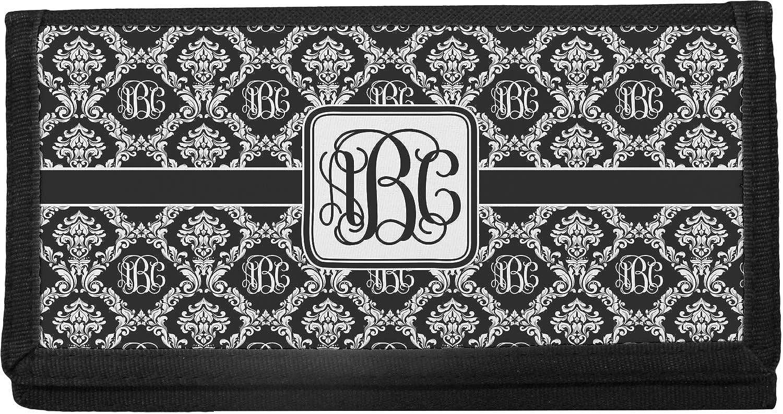 Personalized Monogram Checkbook Cover Vegan Leather Damask Frame Engraved Checkbook Holder Checkbook Wallet Bank Book