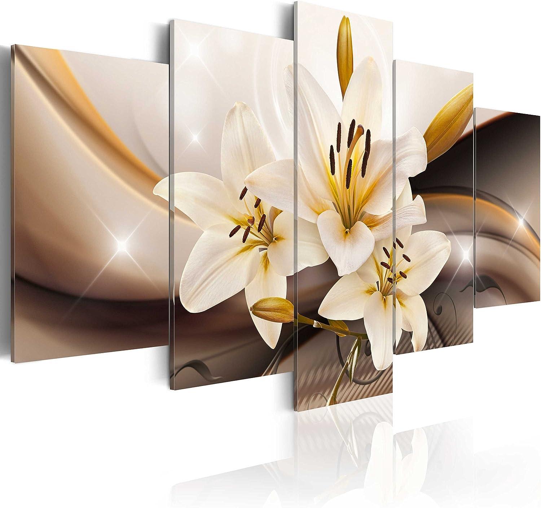 murando - Cuadro en Lienzo Flores Lirios 200x100 cm Impresión de 5 Piezas Material Tejido no Tejido Impresión Artística Imagen Gráfica Decoracion de Pared Naturaleza Abstracto b-A-0251-b-n