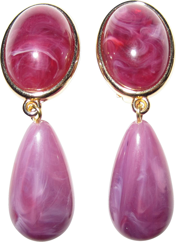 Una pieza favoritos: dorados Clip Pendientes ovalados con un piedra y un disipadoras colgante en un marmorierten Color Rojo